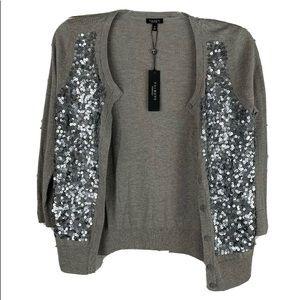 Talbots NWT cardigan sweater sparkly gray medium